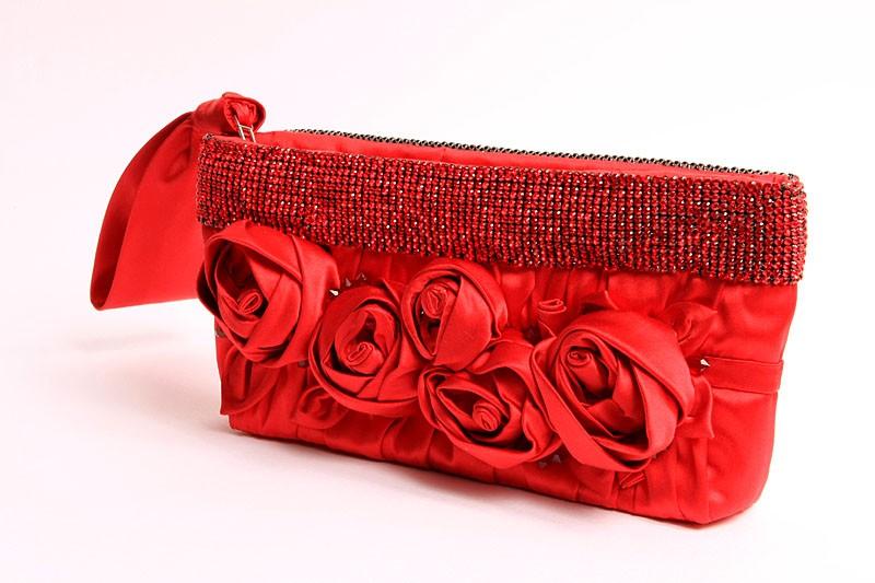 Poseta plic rosie cu elemente Swarovski