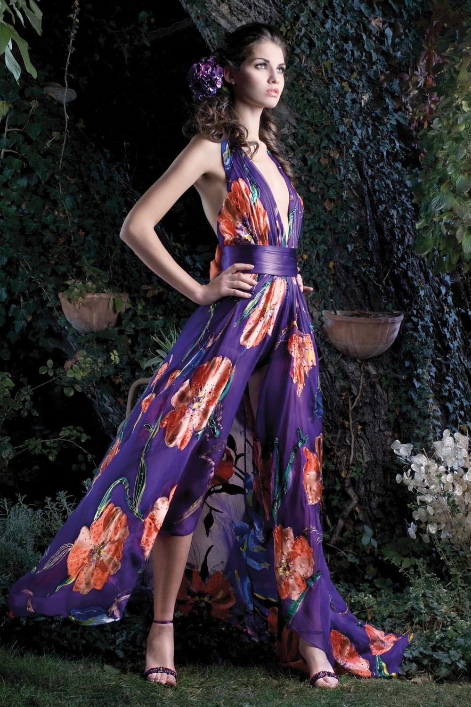 Rochie lunga de seara cu imprimeuri florale Anemone