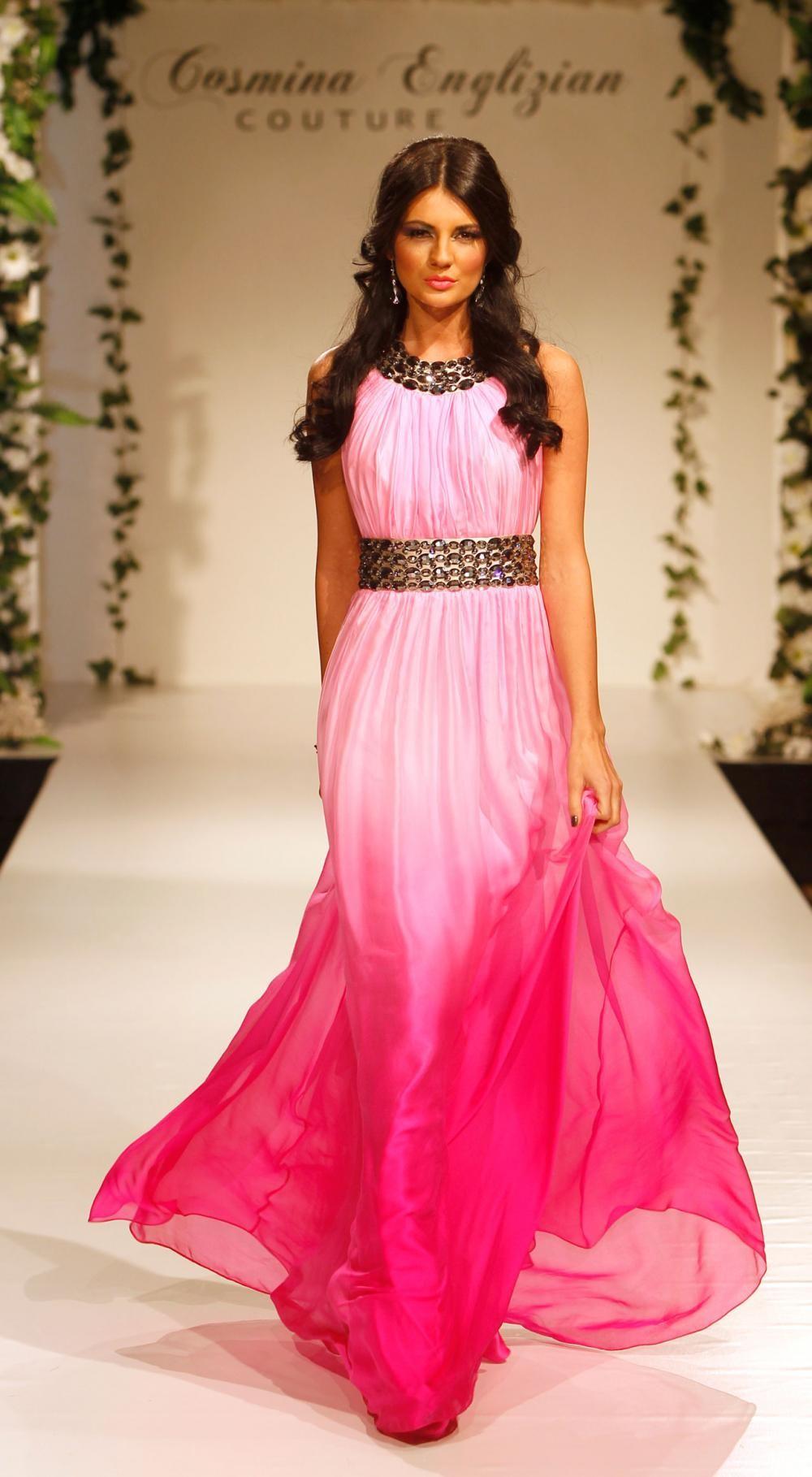 Rochie de seara voal roz Pink Dream