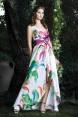 Rochie de seara din matase naturala cu imprimeu floral Orchid