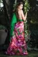 Rochie de seara din matase naturala cu imprimeuri florale Calliopsis