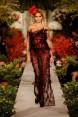 Rochie neagra de tul cu pene rosii Elisa