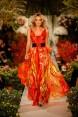 Rochie de seara din matase rosie cu accente aurii Golden Wings