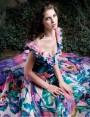 Hibyscus rochie lunga de seara din matase cu imprimeu floral