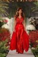 Rochie de seara realizata din matase rosie Red Flower