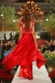 Rochie de seara din matase rosie Red Flower