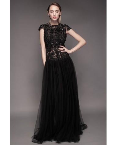 Rochie de seara fascinanta realizata din tul brodat opulent Keira