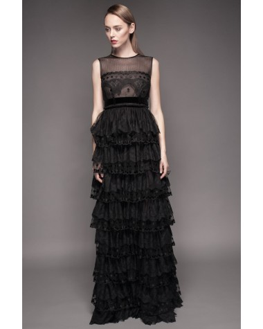 Ruffled evening gown Theresa